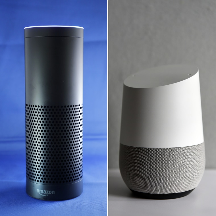 Image: (Left) Amazon Echo, (Right) Google Home.