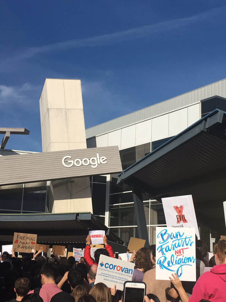 Image: Google employees protest President Trump's immigration orders at the Google headquarters in Mountain View, California.