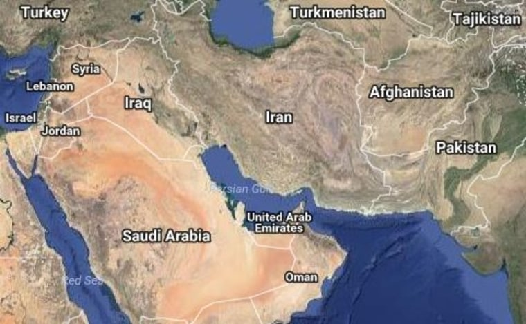 image a map of iran and the wider middle east