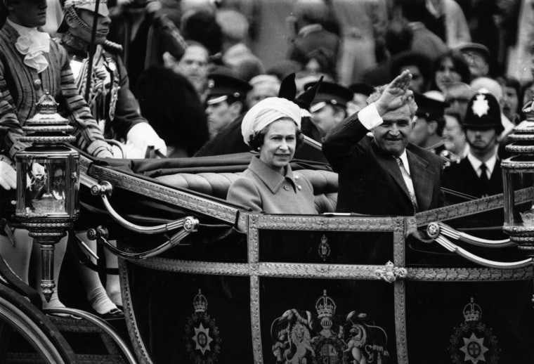 Image: Romanian dictator Nicolae Ceausescu rides in the state carriage with Queen Elizabeth II on his official visit to Britain