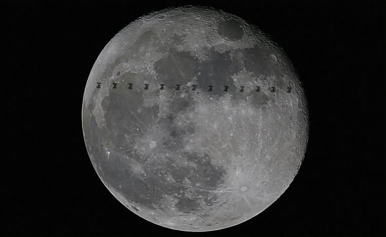 Image: Space Station crosses the moon