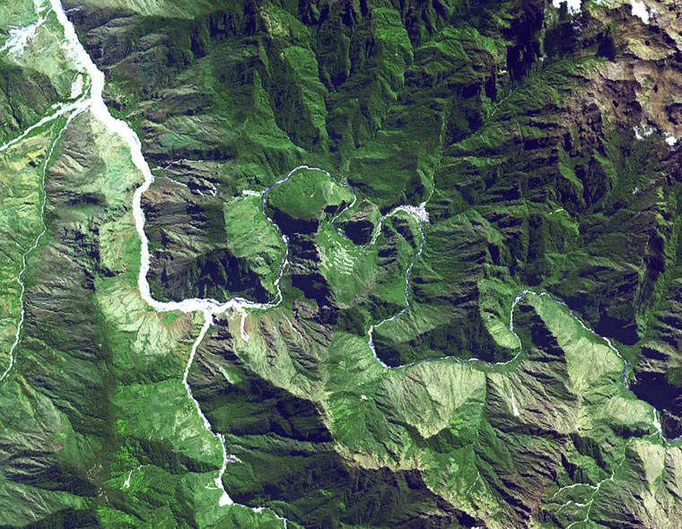 The ruins of Machu Picchu, rediscovered in 1911 by Hiram Bingham. June 25, 2001. Satellite image.