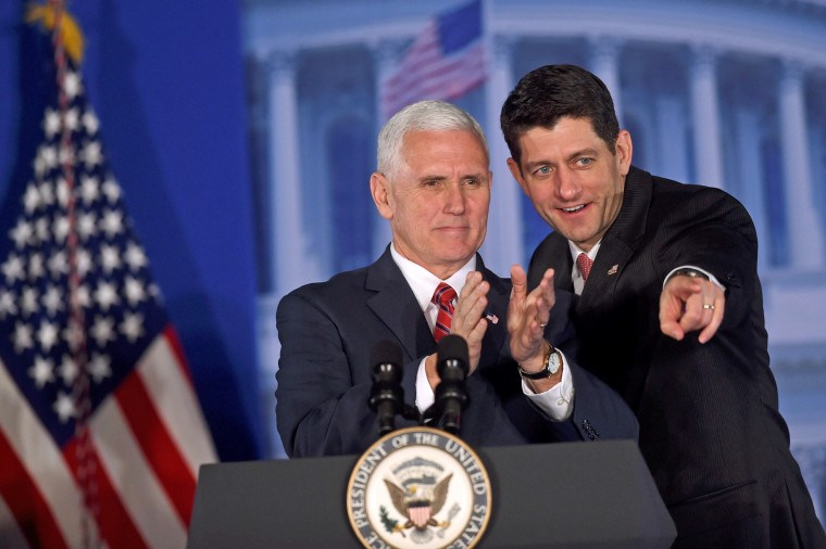 """Image: U.S. Vice President Pence and U.S. House Speaker Ryan acknowledge the crowd during the 2017 """"Congress of Tomorrow"""" Joint Republican Issues Conference in Philadelphia"""