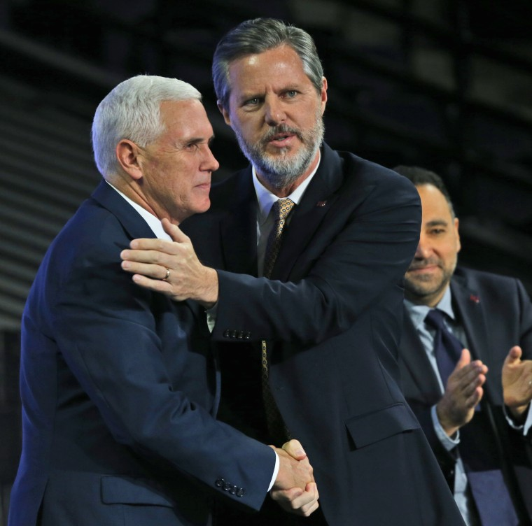 IMAGE: Mike Pence and Jerry Falwell Jr.
