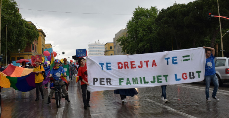 Albanian LGBTQ activists march in Tirana, Albania