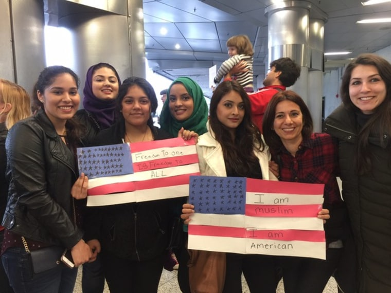 People assembled at the Miami Int'l Airport on Jan. 29 to protest Pres. Trump's immigration executive order.