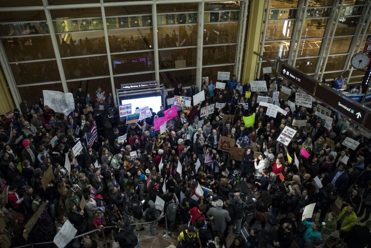 Image: Demonstration Held At Reagan National Airport Against Trump's Recent Immigration Policy