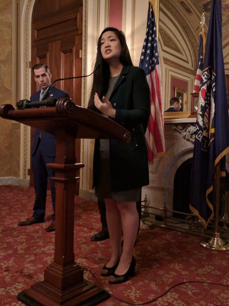 Amanda Nguyen speaks after the U.S. Senate unanimously passed the Sexual Assault Survivors' Rights Act.