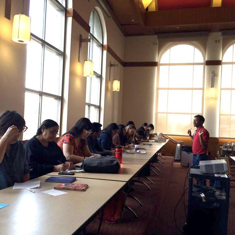 Poet Douglas Manuel leads a workshop at the first #LitinColor Write-a-Thon