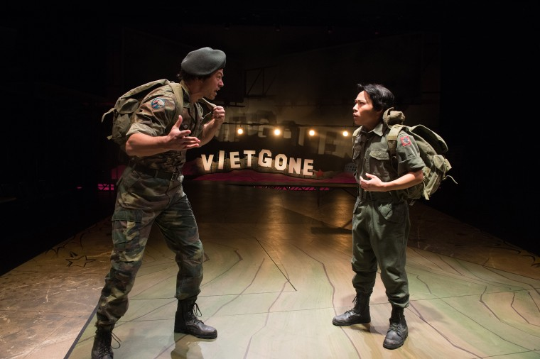 "James Ryen and Will Dao in ""Vietgone"" at the Oregon Shakespeare Festival. The play is based on the lives of writer/directer Qui Nguyen's parents and their experiences as Vietnamese refugees,"