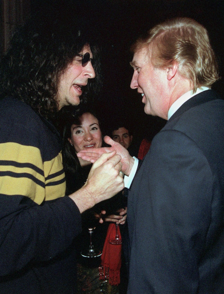 Image: Howard Stern, left, speaks with casino owner and possible presidential candidate Donald Trump at a party given by the New York Post