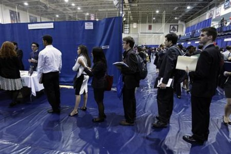 Employment seeking American University students line up waiting to talk to job recruiters during a career job fair at American University in Washington