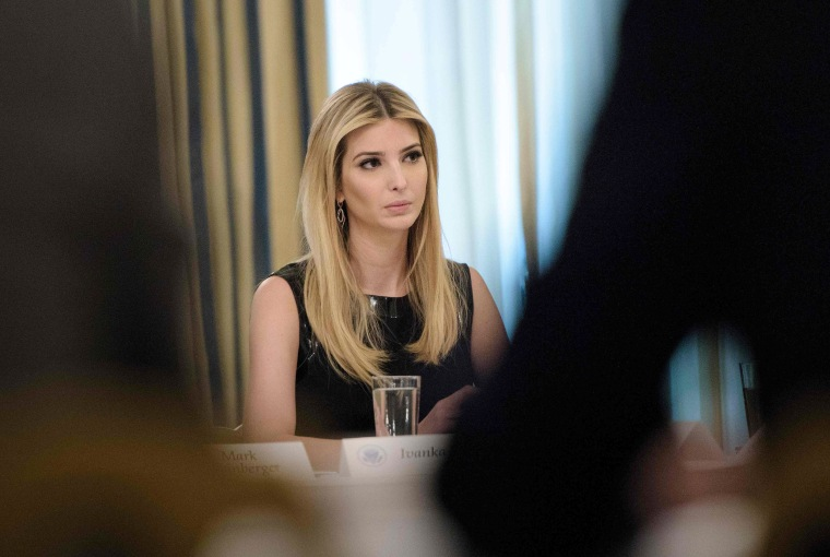 Image: Ivanka Trump listens at the beginning of a policy and strategy forum with executives in the State Dining Room of the White House, Feb. 3, 2017.
