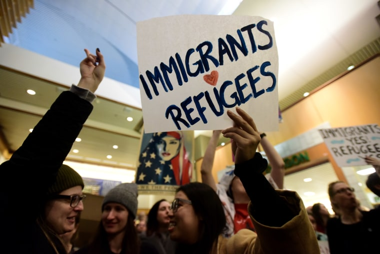 Image: Protesters demonstrate against President Trump's immigration ban at Portland International Airport in Portland, Oregon, on Jan. 29, 2017.
