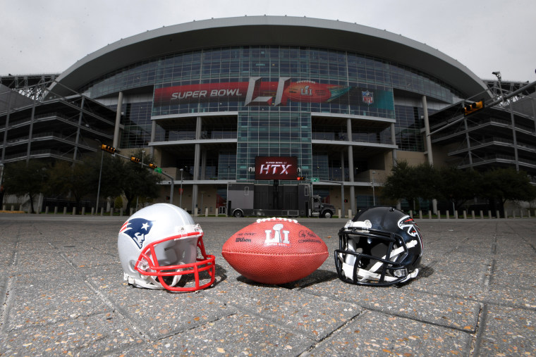Image: General overall view of New England Patriots and Atlanta Falcons helmets and NFL Wilson official Duke Super Bowl LI logo football at NRG Stadium, Houston, Texas, Feb. 4, 2017.
