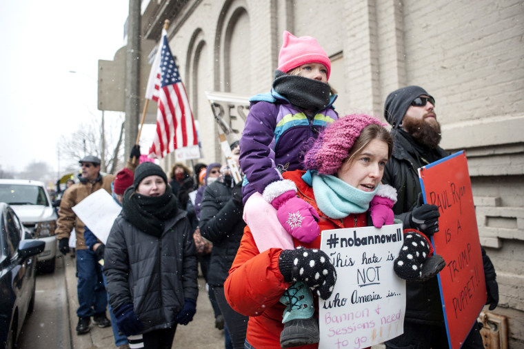 Image: Bethany Kerns and Emma Kerns at Wisconsin protest