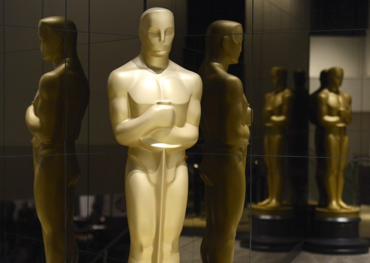 Image: An Oscar statue is seen at the nominations announcement for the 87th Academy Awards in Beverly Hills, California