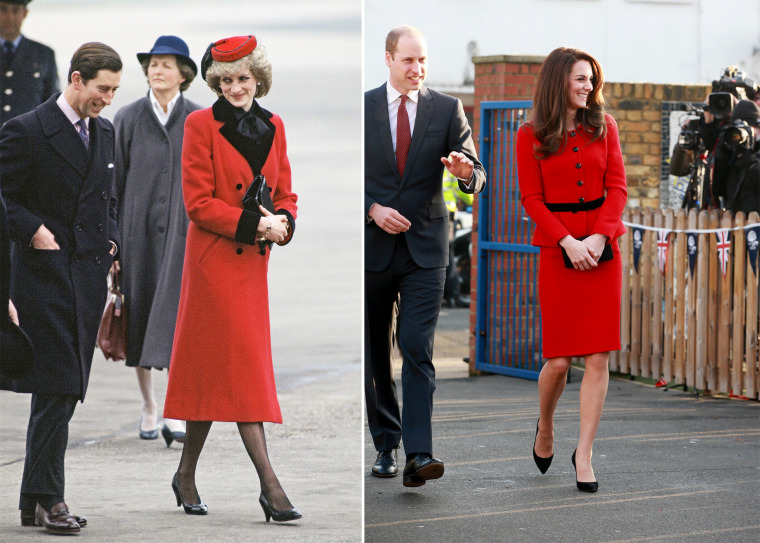 Duchess Kate and Princess Diana in red