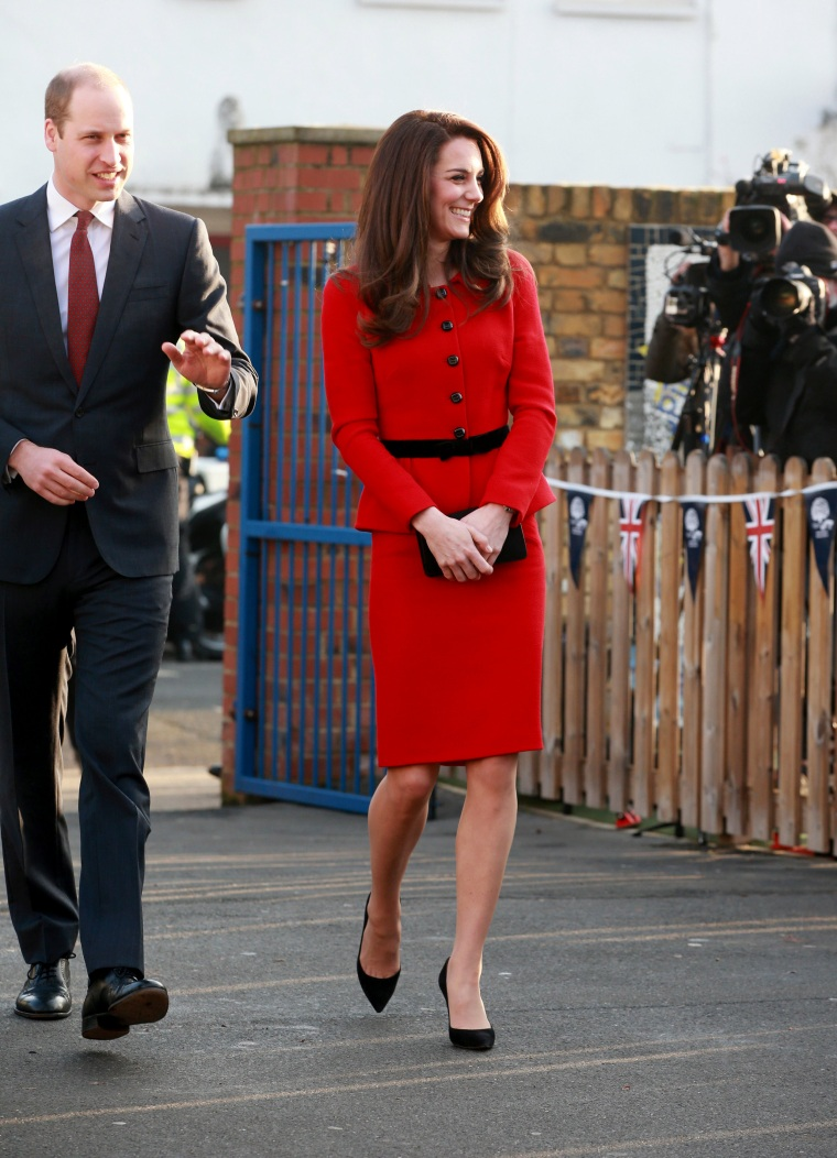 The Duke & Duchess Of Cambridge Kate Middleton Red Suit