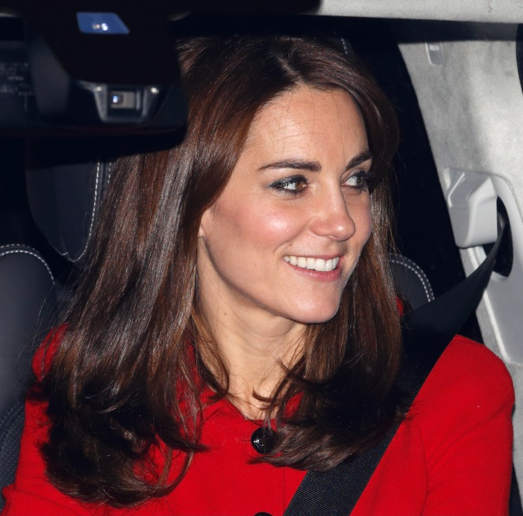 Kate Middleton Red Suit Hair