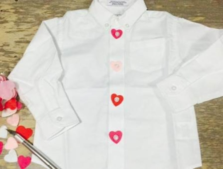Shirt with felt hearts on buttons