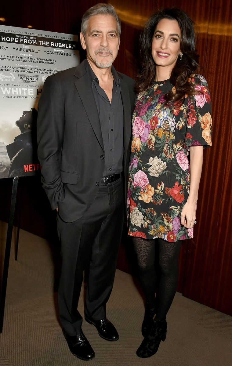 George and Amal Clooney attend the Netflix special screening and reception of The White Helmets hosted by The Clooney Foundation For Justice with George and Amal Clooney, at the Bvlgari Hotel on January 9, 2017 in London, England.