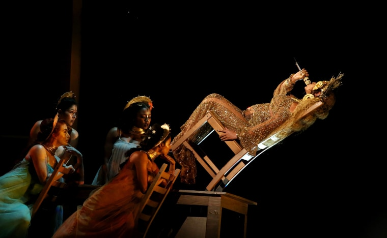 Image: Beyonce performs at the 59th Annual Grammy Awards in Los Angeles