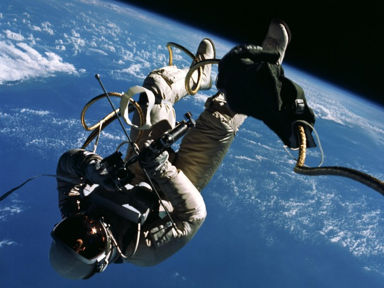 Image: During the Gemini 4 mission on June 3, 1965, Ed White becomes the first American to conduct a spacewalk.
