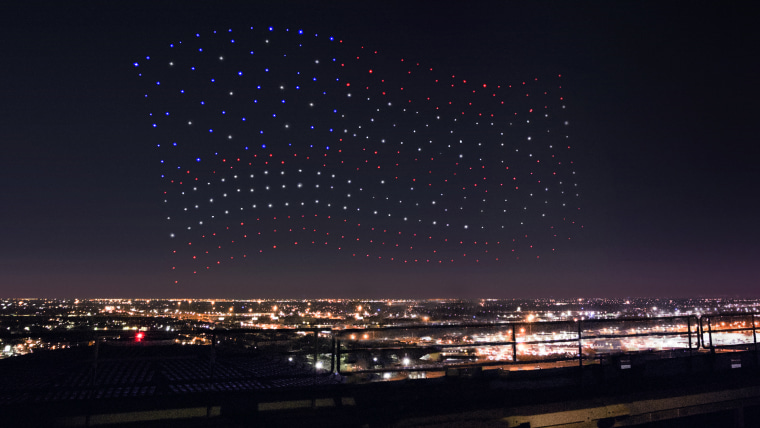 Image: An Intel Shooting Star drones fleet lights up the sky in an American Flag formation
