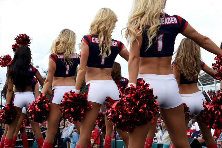Image: Houston Texans Cheerleaders perform for fans as they arrive for Super Bowl LI at NGR Stadium in Houston, Texas on Feb. 5, 2017.