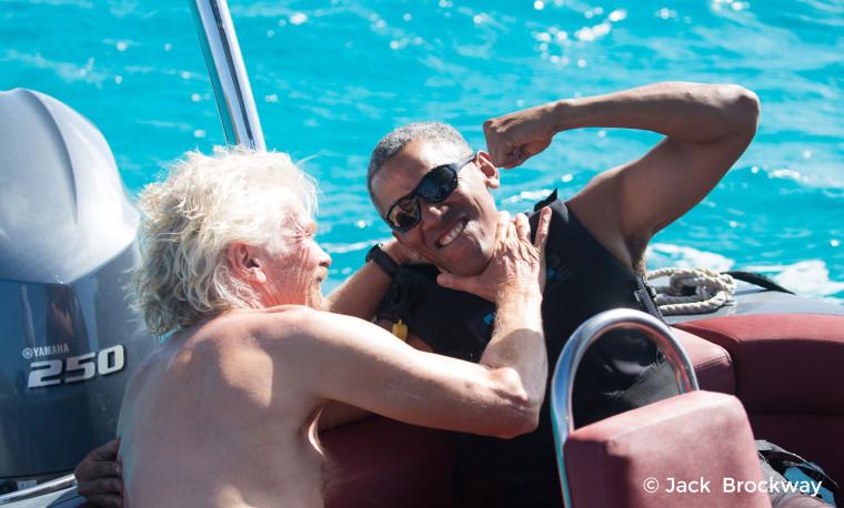 Image: Obama kids around with Richard Branson in Moskito on the British Virgin Islands