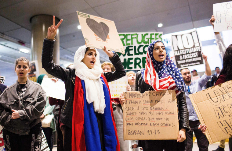 Image: Protests over the executive order by President Donald Trump, banning immigrants from seven majority-Muslim countries at Los Angeles International Airport in Los Angeles., on Feb. 4, 2017.