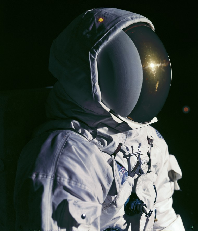 The crew members of Apollo 11 mission: detail of the helmet with the outer visor down