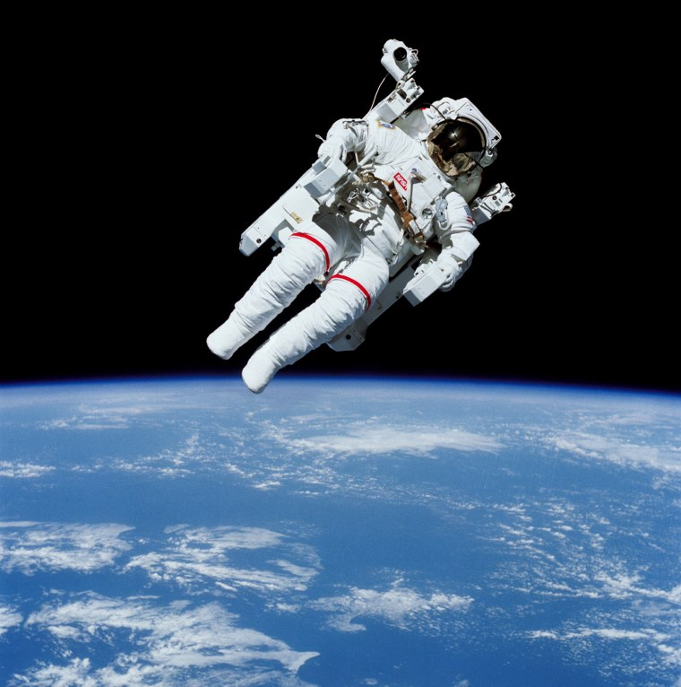 In February 1984, shuttle astronaut Bruce McCandless became the first astronaut to float in space untethered, thanks to a jetpack-like device called the Manned Manuevering Unit, or MMU.