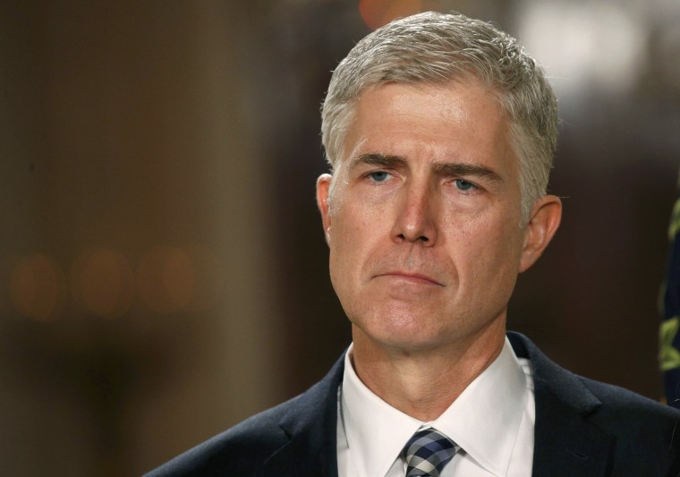Image: Neil Gorsuch listens as President Trump announces his nomination of Gorsuch to be an associate justice of the U.S. Supreme Court at the White House in Washington, D.C. on Jan. 31.