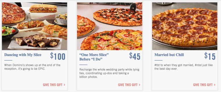 screenshot of the Domino's Pizza wedding registry site.