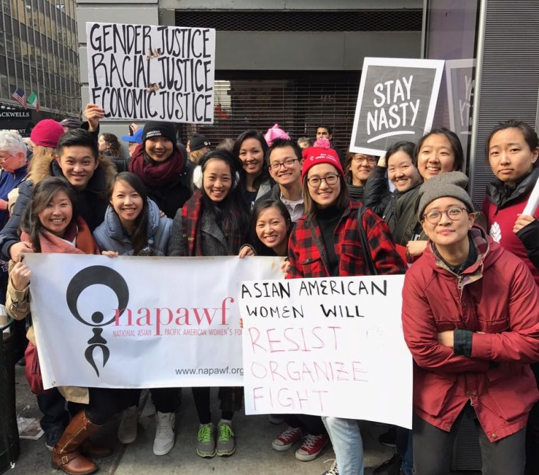 Members of NAPAWF*NYC at the New York City's Women's March