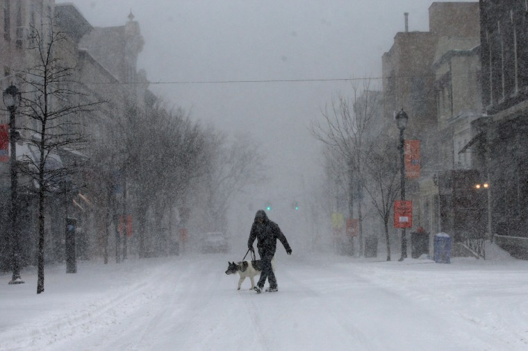 Image: A man walks his dog in heavy falling snow on Main Street in the village of Nyack, New York