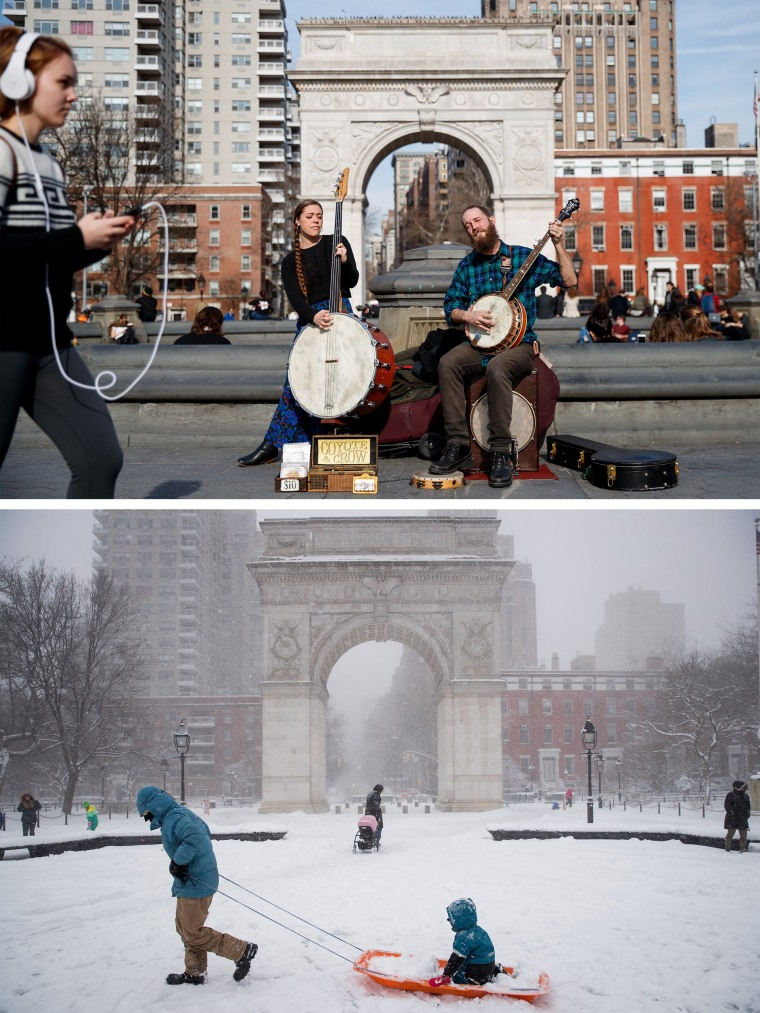 Image: From Balmy To Snow Storm: Extreme 48-Hour Weather Swing In New York City