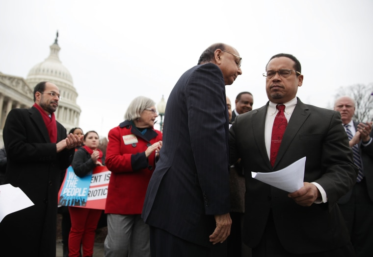 Image: Rep. Ellison (D-MN), House Democrats, And Gold Star Father Khizr Khan Speak Out Against Trump's Recent Immigration Ban