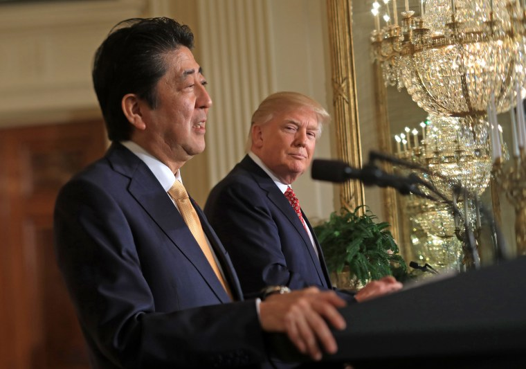 Image: President Trump and Prime Minister Abe Hold Press Conference at White House