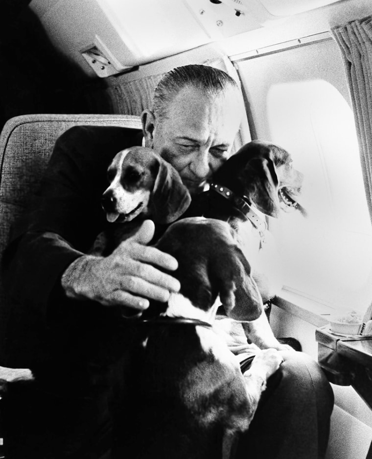 Image: President Johnson holds his two dogs in Air Force One