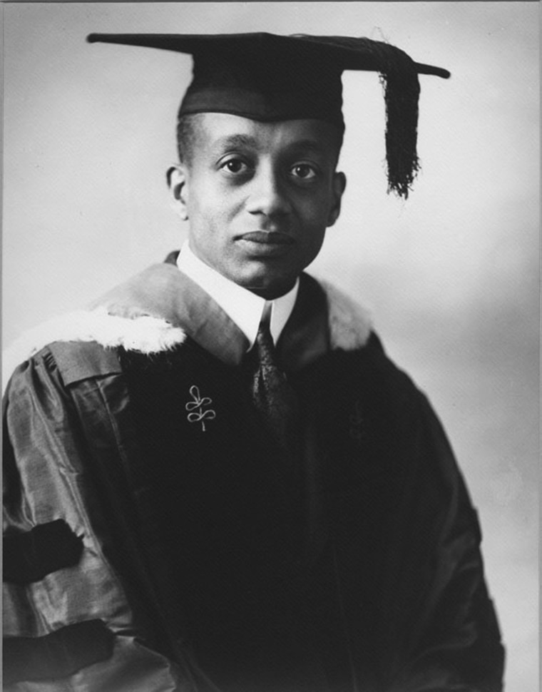 Image: Alain Leroy Locke is pictured circa 1918 in his doctoral cap and gown from Harvard University.