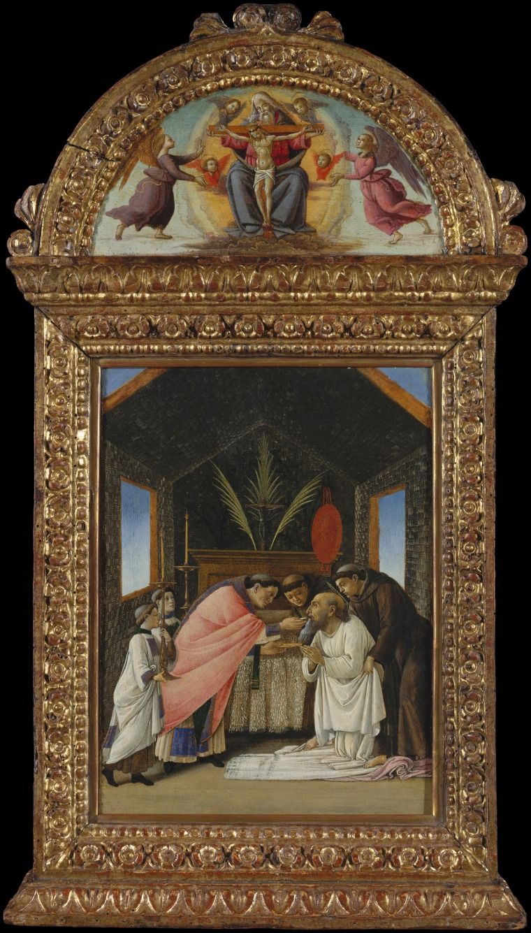 Image: The Last Communion of Saint Jerome, tempera and gold on wood by Botticelli, early 1490s.