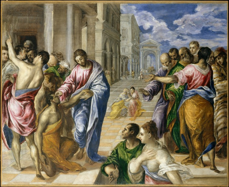 Image: Christ Healing the Blind, oil on canvas by El Greco, circa 1570.