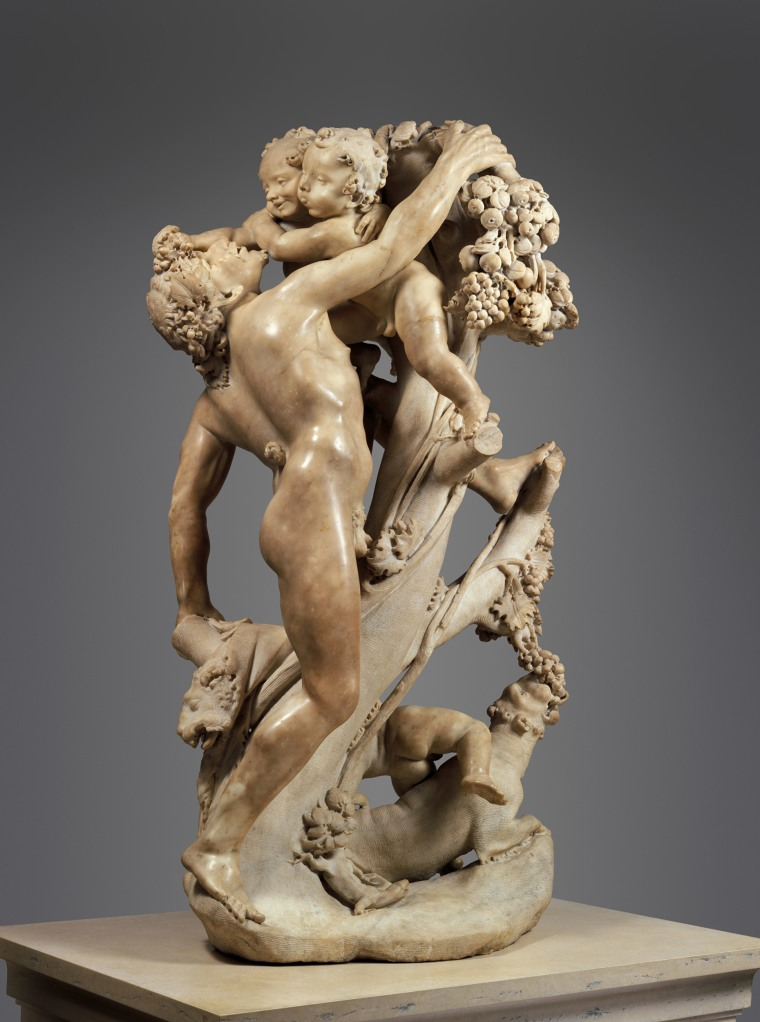 Bacchanal: A Faun Teased by Children, marble statue by Gian Lorenzo Bernini and Pietro Bernini, circa 1616-17. Gian Lorenzo Bernini was the heroic central figure in Italian Baroque sculpture.