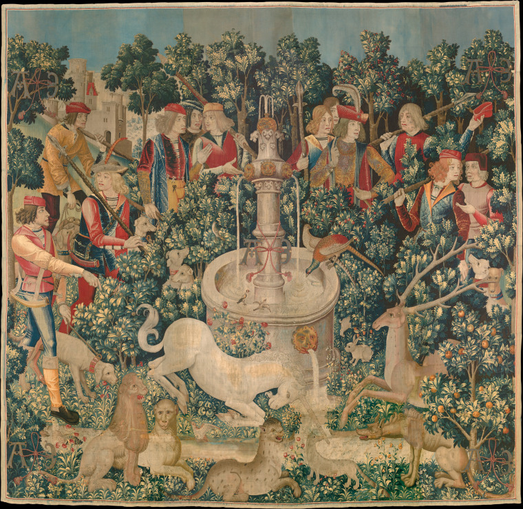 The Unicorn is Found (from the Unicorn Tapestries), wool warp with wool, silk, silver, and gilt wefts, 1495-1505. Flora and fauna play a significant role in the narratives of the Unicorn Tapestries.