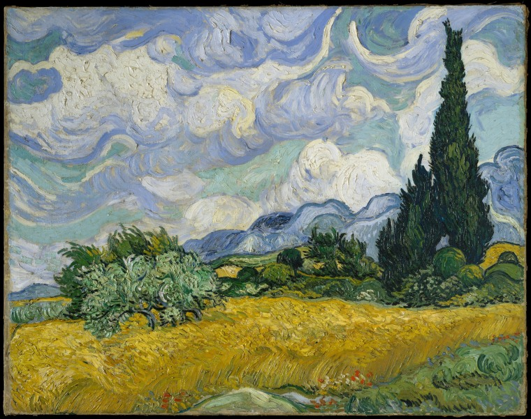 Wheat Field with Cypresses, oil on canvas by Vincent van Gogh, 1889. Cypresses gained ground in Van Gogh's work by late June 1889 when he resolved to devote one of his first series in Saint-R?my to the towering trees.
