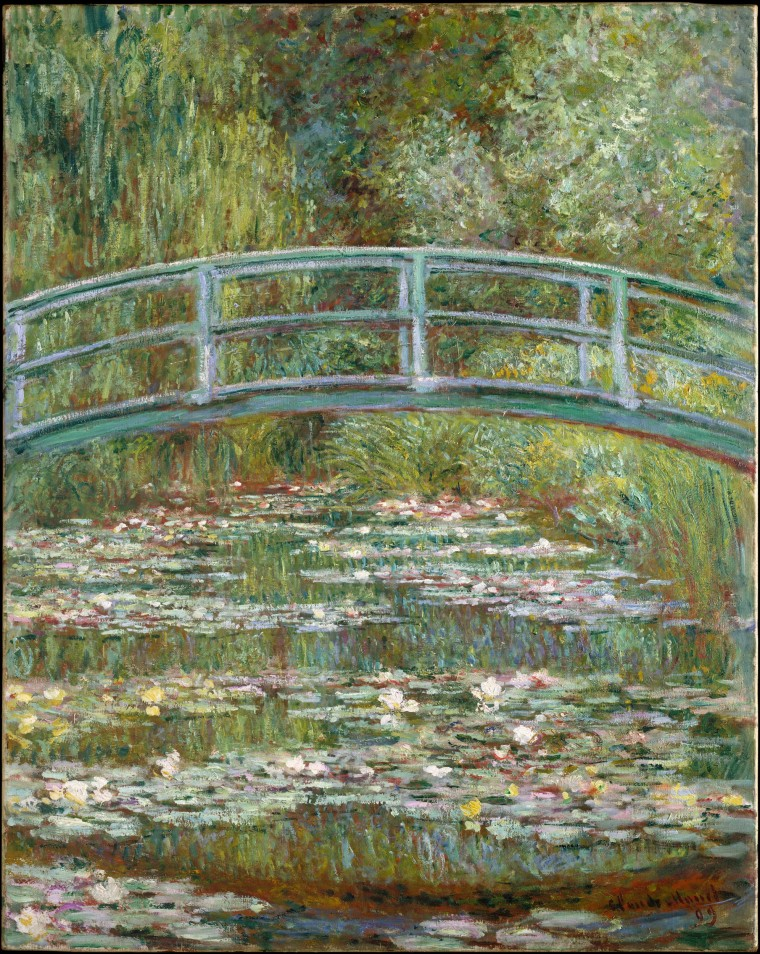 Image: Bridge over a Pond of Water Lilies, oil on canvas by Claude Monet, 1899.