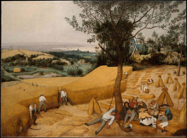 The Harvesters, oil on wood by Pieter Bruegel the Elder, 1565. This panel belongs to a series and the cycle originally included six paintings showing the times of the year. Bruegel's series is a watershed in the history of western art, the religious pretext for landscape painting has been suppressed in favor of a new humanism.